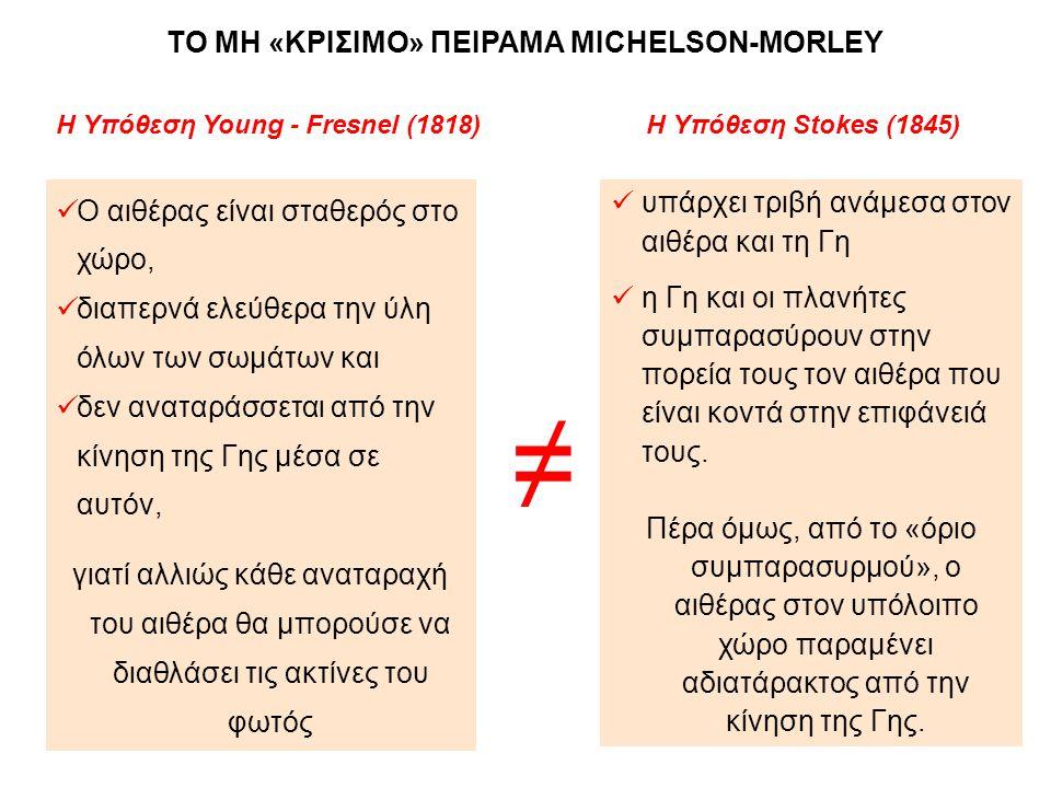 Η Υπόθεση Young - Fresnel (1818) Η Υπόθεση Stokes (1845)  Ο αιθέρας είναι σταθερός στο χώρο,  διαπερνά ελεύθερα την ύλη όλων των σωμάτων και  δεν α
