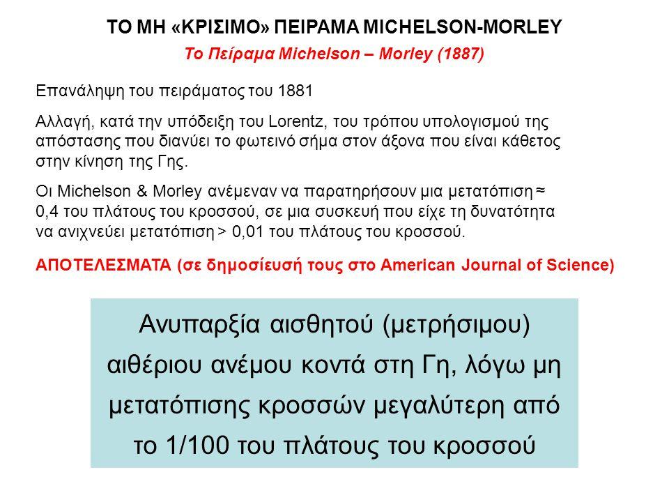Το Πείραμα Michelson – Morley (1887) Επανάληψη του πειράματος του 1881 Αλλαγή, κατά την υπόδειξη του Lorentz, του τρόπου υπολογισμού της απόστασης που
