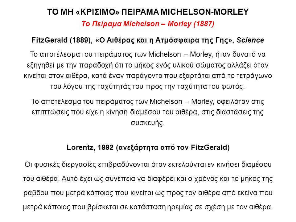 Το Πείραμα Michelson – Morley (1887) FitzGerald (1889), «Ο Αιθέρας και η Ατμόσφαιρα της Γης», Science Το αποτέλεσμα του πειράματος των Michelson – Mor