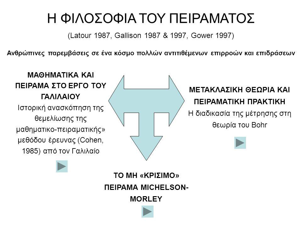 Η διαδικασία της μέτρησης στη θεωρία του Bohr ΜΕΤΑΚΛΑΣΙΚΗ ΘΕΩΡΙΑ ΚΑΙ ΠΕΙΡΑΜΑΤΙΚΗ ΠΡΑΚΤΙΚΗ Σκοπός της επιστήμης είναι να προσδιορίσει τις σχέσεις μεταξύ παρατηρήσιμων μεγεθών, των παρατηρησιακών όρων μιας θεωρίας.