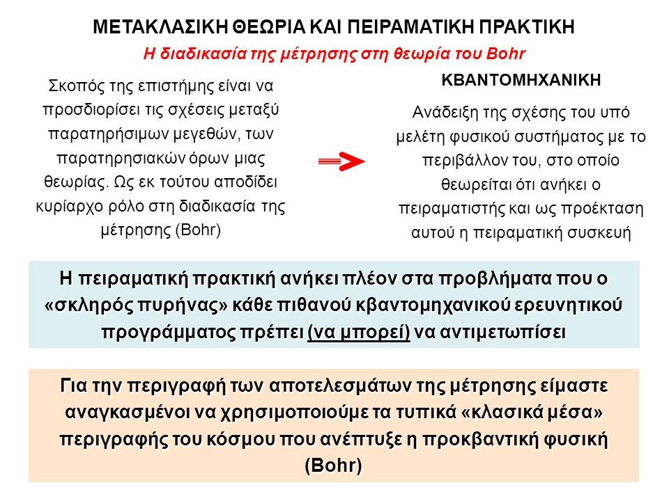 Η διαδικασία της μέτρησης στη θεωρία του Bohr ΜΕΤΑΚΛΑΣΙΚΗ ΘΕΩΡΙΑ ΚΑΙ ΠΕΙΡΑΜΑΤΙΚΗ ΠΡΑΚΤΙΚΗ Σκοπός της επιστήμης είναι να προσδιορίσει τις σχέσεις μεταξ