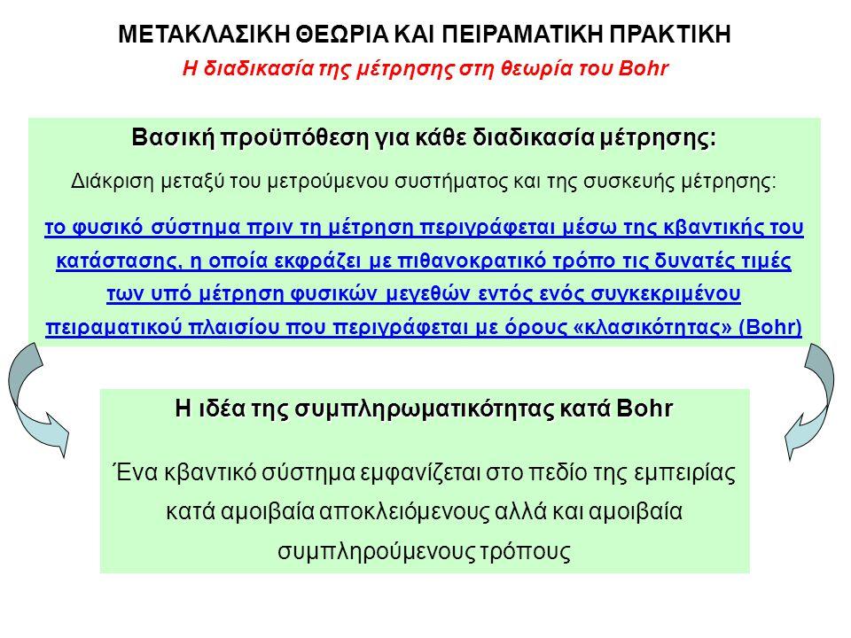 Η διαδικασία της μέτρησης στη θεωρία του Bohr ΜΕΤΑΚΛΑΣΙΚΗ ΘΕΩΡΙΑ ΚΑΙ ΠΕΙΡΑΜΑΤΙΚΗ ΠΡΑΚΤΙΚΗ Βασική προϋπόθεση για κάθε διαδικασία μέτρησης: Διάκριση μετ