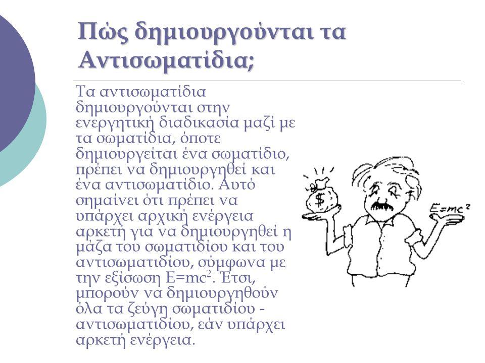 Πώς δημιουργούνται τα Αντισωματίδια; Τα αντισωματίδια δημιουργούνται στην ενεργητική διαδικασία μαζί με τα σωματίδια, όποτε δημιουργείται ένα σωματίδι