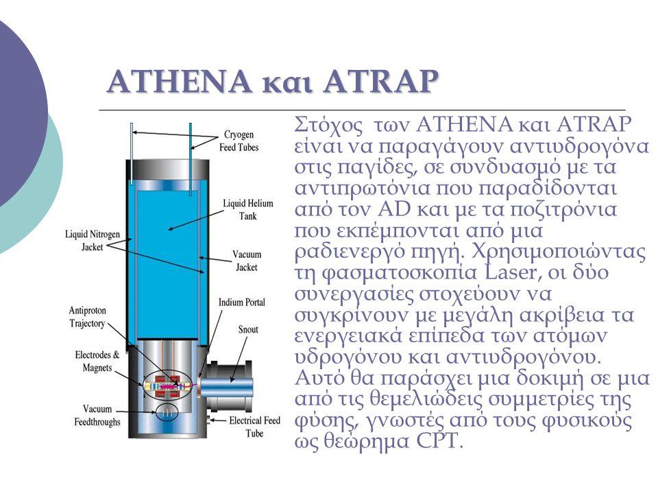 ATHENA και ATRAP Στόχος των ATHENA και ATRAP είναι να παραγάγουν αντιυδρογόνα στις παγίδες, σε συνδυασμό με τα αντιπρωτόνια που παραδίδονται από τον A