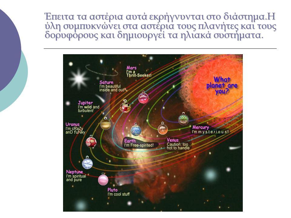 Έπειτα τα αστέρια αυτά εκρήγνυνται στο διάστημα.Η ύλη συμπυκνώνει στα αστέρια τους πλανήτες και τους δορυφόρους και δημιουργεί τα ηλιακά συστήματα.
