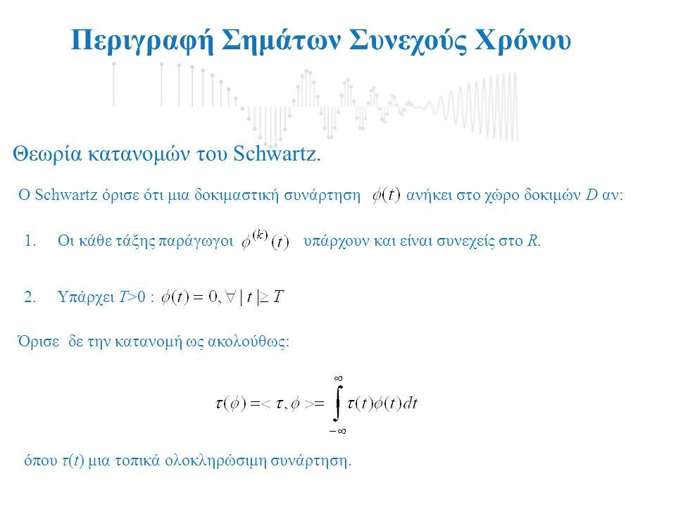 1.Oι κάθε τάξης παράγωγοι υπάρχουν και είναι συνεχείς στο R. Περιγραφή Σημάτων Συνεχούς Χρόνου O Schwartz όρισε ότι μια δοκιμαστική συνάρτηση ανήκει σ