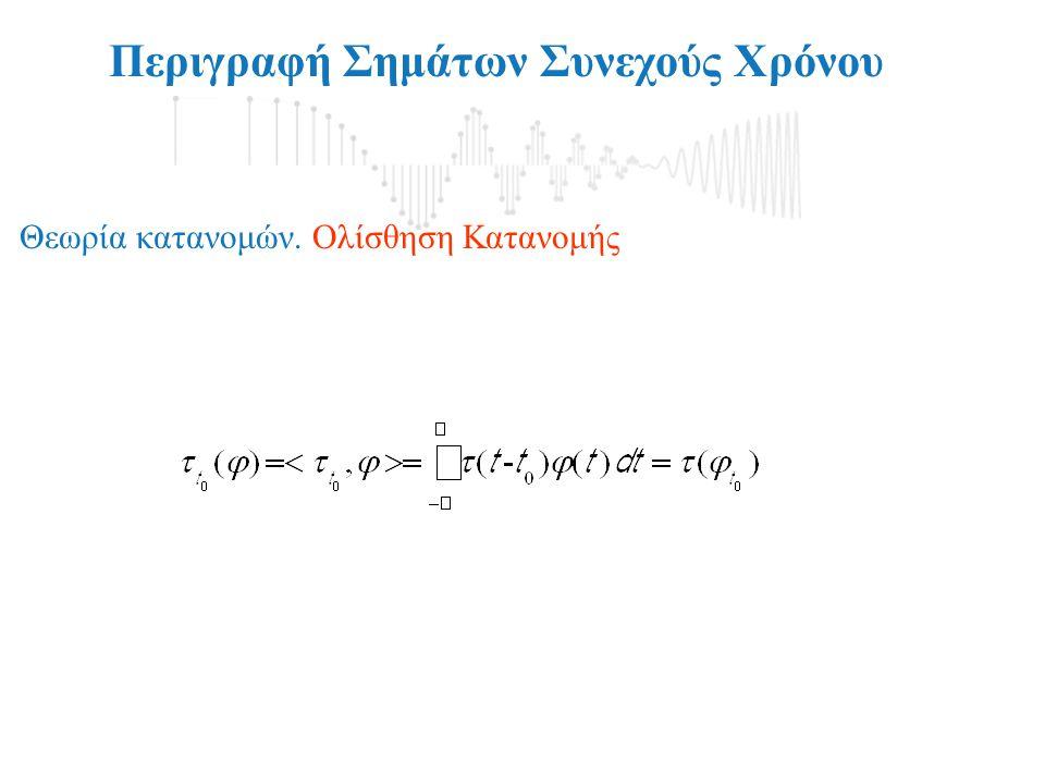 Περιγραφή Σημάτων Συνεχούς Χρόνου Θεωρία κατανομών. Ολίσθηση Κατανομής