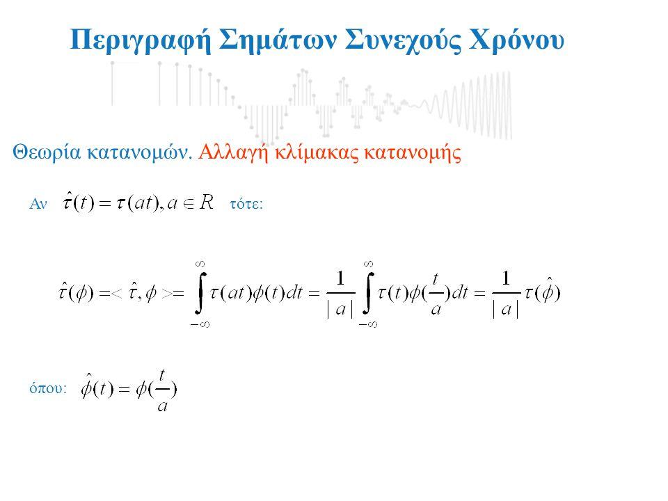 Αντότε: Περιγραφή Σημάτων Συνεχούς Χρόνου Θεωρία κατανομών. Αλλαγή κλίμακας κατανομής όπου: