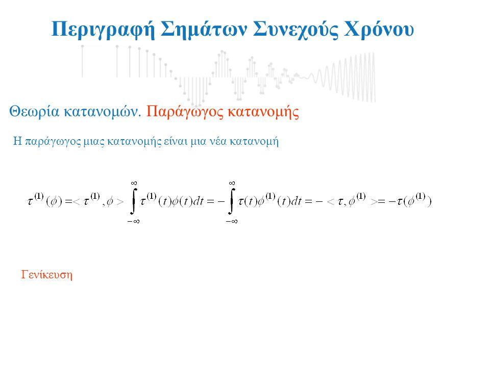 Περιγραφή Σημάτων Συνεχούς Χρόνου Η παράγωγος μιας κατανομής είναι μια νέα κατανομή Θεωρία κατανομών. Παράγωγος κατανομής Γενίκευση