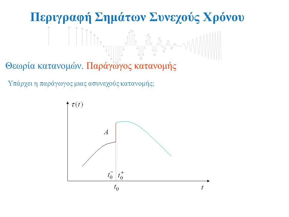 Περιγραφή Σημάτων Συνεχούς Χρόνου Υπάρχει η παράγωγος μιας ασυνεχούς κατανομής; Θεωρία κατανομών. Παράγωγος κατανομής A