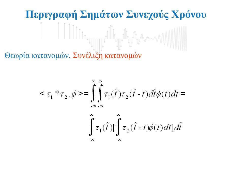 Περιγραφή Σημάτων Συνεχούς Χρόνου Θεωρία κατανομών. Συνέλιξη κατανομών