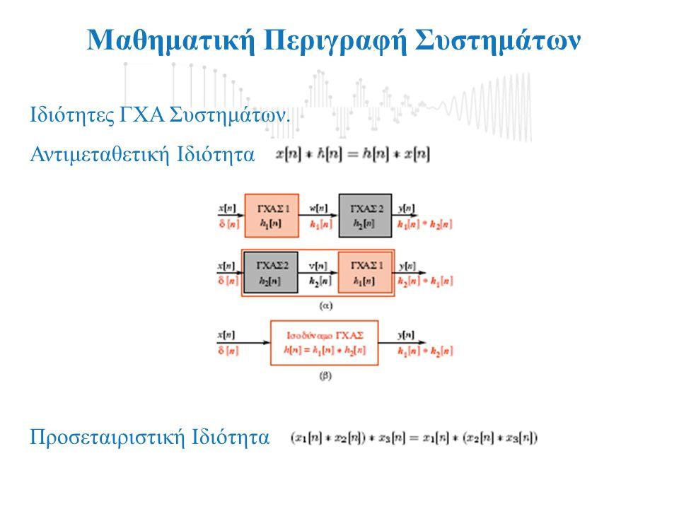 Μαθηματική Περιγραφή Συστημάτων Ιδιότητες ΓΧΑ Συστημάτων. Αντιμεταθετική Ιδιότητα Προσεταιριστική Ιδιότητα
