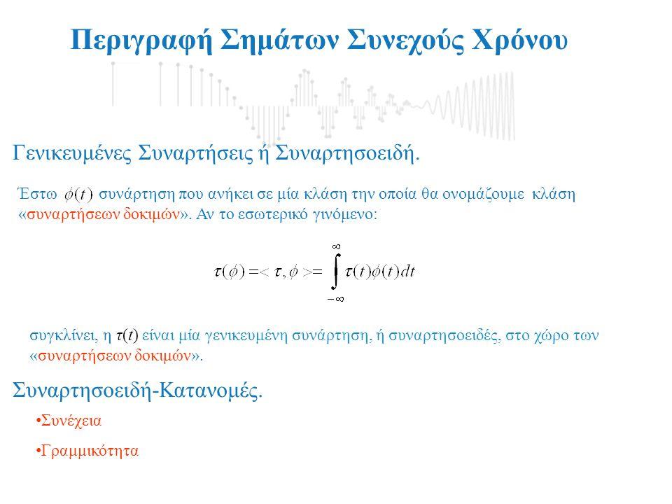 Περιγραφή Σημάτων Συνεχούς Χρόνου Γενικευμένες Συναρτήσεις ή Συναρτησοειδή. Έστω συνάρτηση που ανήκει σε μία κλάση την οποία θα ονομάζουμε κλάση «συνα