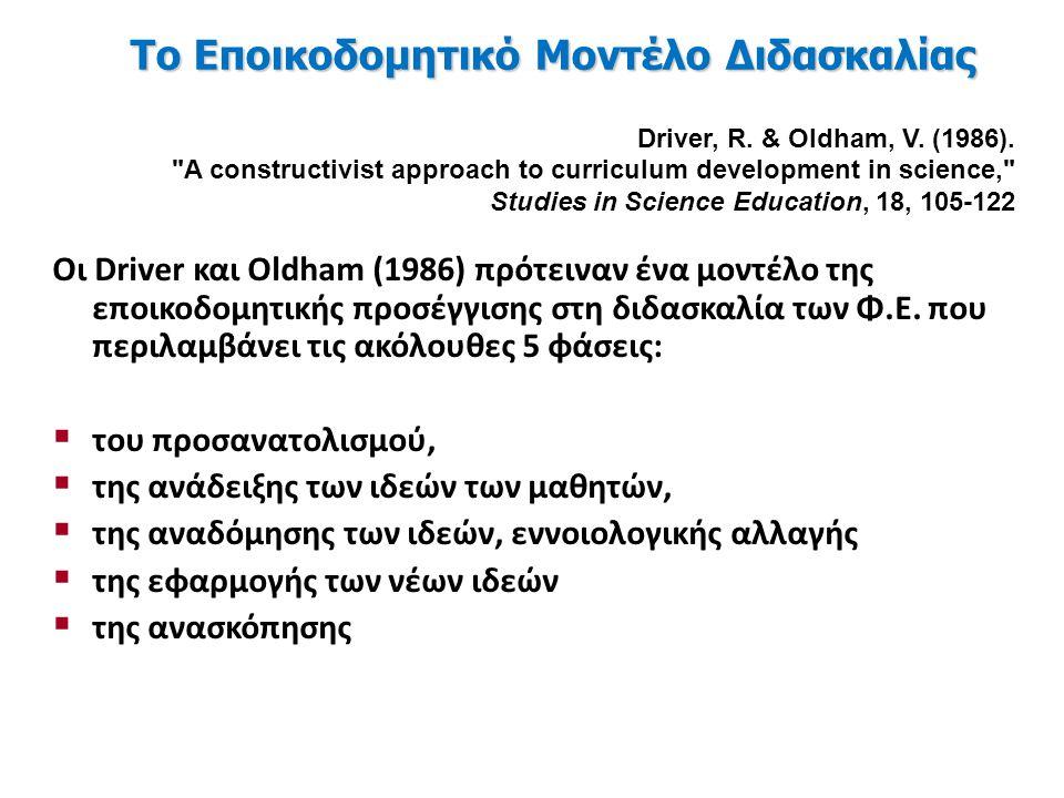 Οι Driver και Oldham (1986) πρότειναν ένα μοντέλο της εποικοδομητικής προσέγγισης στη διδασκαλία των Φ.Ε.