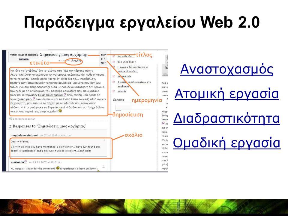 Αναστοχασμός Ατομική εργασία Διαδραστικότητα Ομαδική εργασία Παράδειγμα εργαλείου Web 2.0