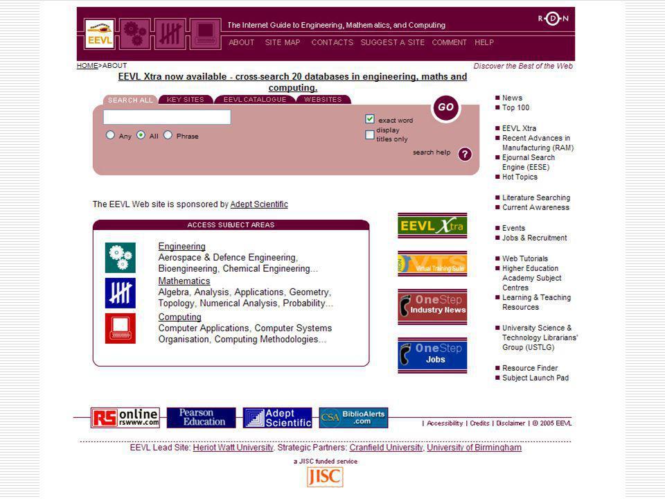 Αρχική ιστοσελίδα του καταλόγου ειδικού σκοπού Edinburgh Engineering Virtual Library.