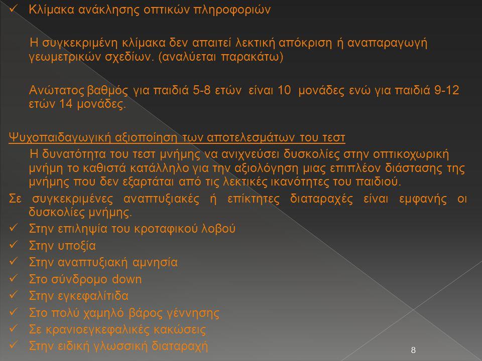 8  Κλίμακα ανάκλησης οπτικών πληροφοριών Η συγκεκριμένη κλίμακα δεν απαιτεί λεκτική απόκριση ή αναπαραγωγή γεωμετρικών σχεδίων. (αναλύεται παρακάτω)