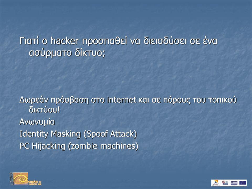 Γιατί ο hacker προσπαθεί να διεισδύσει σε ένα ασύρματο δίκτυο; Δωρεάν πρόσβαση στο internet και σε πόρους του τοπικού δικτύου.