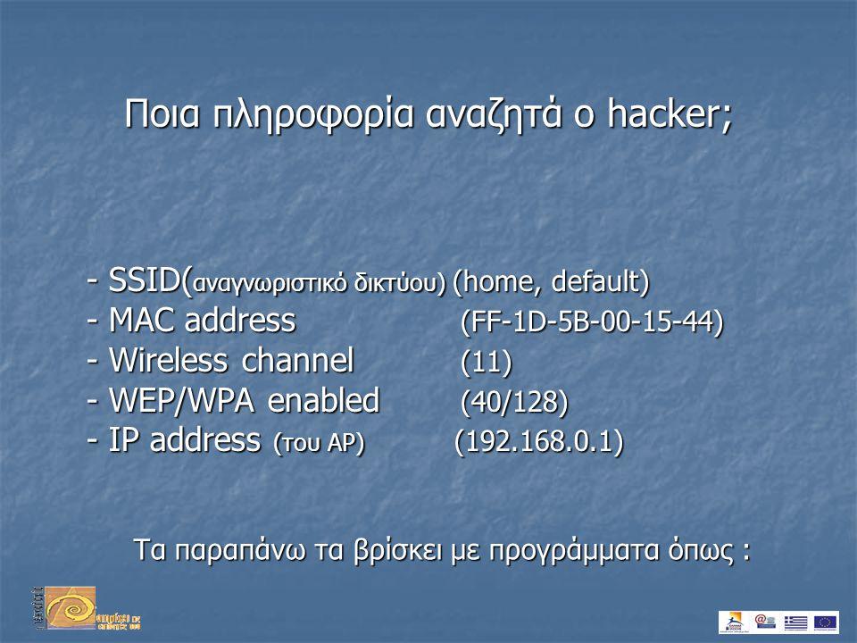 Ποια πληροφορία αναζητά ο hacker; - SSID( αναγνωριστικό δικτύου) (home, default) - MAC address (FF-1D-5B-00-15-44) - Wireless channel (11) - WEP/WPA enabled (40/128) - IP address (του AP) (192.168.0.1) Τα παραπάνω τα βρίσκει με προγράμματα όπως :