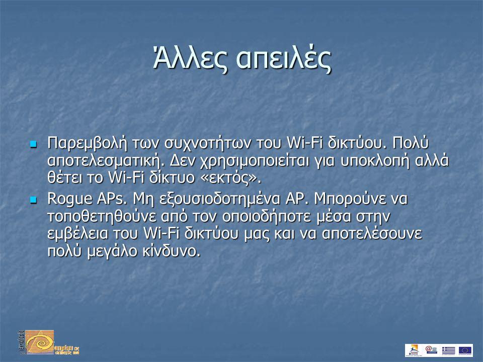 Άλλες απειλές  Παρεμβολή των συχνοτήτων του Wi-Fi δικτύου.