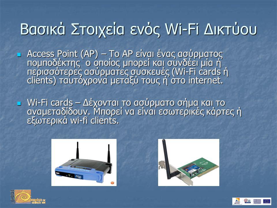 Βασικά Στοιχεία ενός Wi-Fi Δικτύου  Access Point (AP) – Το AP είναι ένας ασύρματος πομποδέκτης ο οποίος μπορεί και συνδέει μία ή περισσότερες ασύρματες συσκευές (Wi-Fi cards ή clients) ταυτόχρονα μεταξύ τους ή στο internet.