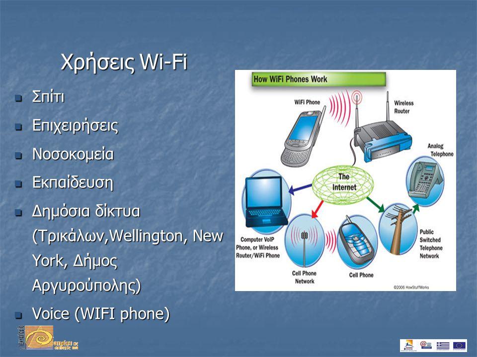 Χρήσεις Wi-Fi  Σπίτι  Επιχειρήσεις  Νοσοκομεία  Εκπαίδευση  Δημόσια δίκτυα (Τρικάλων,Wellington, New York, Δήμος Αργυρούπολης)  Voice (WIFI phone)