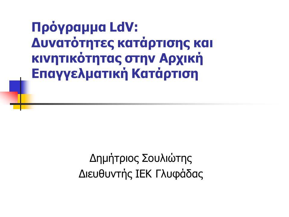 Πρόγραμμα LdV: Δυνατότητες κατάρτισης και κινητικότητας στην Αρχική Επαγγελματική Κατάρτιση Δημήτριος Σουλιώτης Διευθυντής ΙΕΚ Γλυφάδας