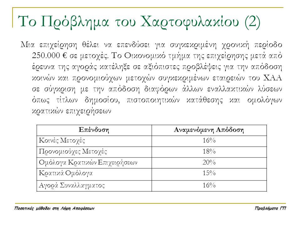 Ποσοτικές μέθοδοι στη Λήψη Αποφάσεων Προβλήματα ΓΠ Το Πρόβλημα του Χαρτοφυλακίου (2) Μια επιχείρηση θέλει να επενδύσει για συγκεκριμένη χρονική περίοδ