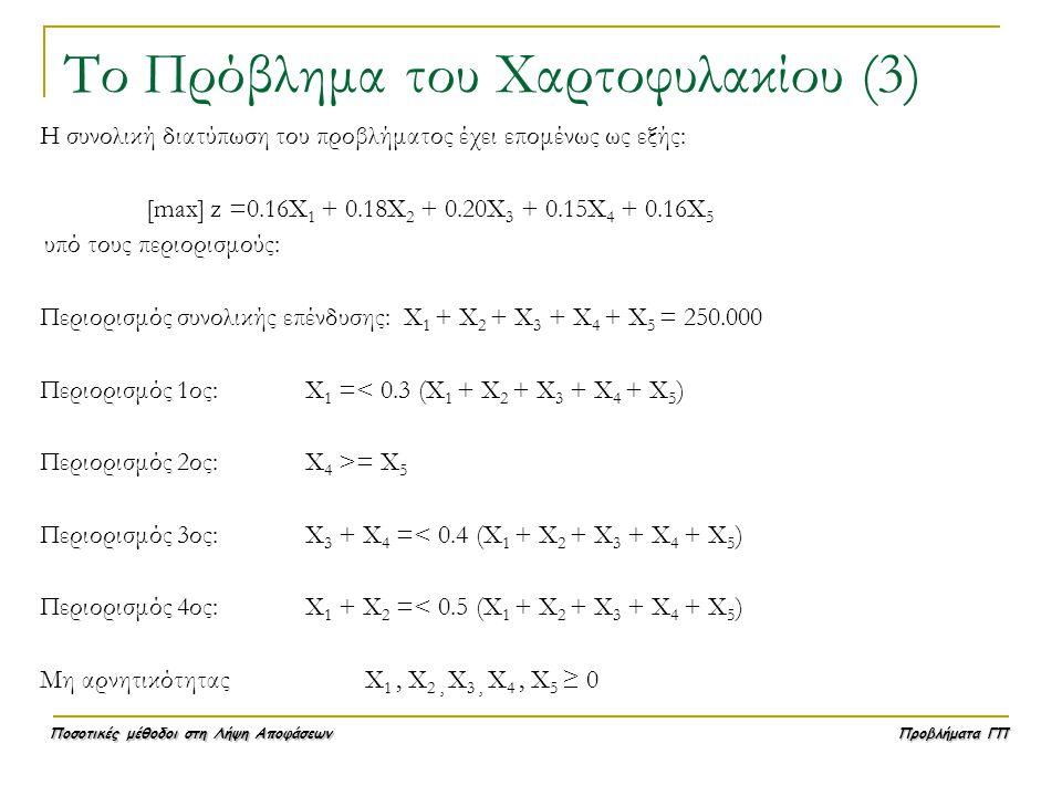 Ποσοτικές μέθοδοι στη Λήψη Αποφάσεων Προβλήματα ΓΠ Το Πρόβλημα του Χαρτοφυλακίου (3) Η συνολική διατύπωση του προβλήματος έχει επομένως ως εξής: [max]
