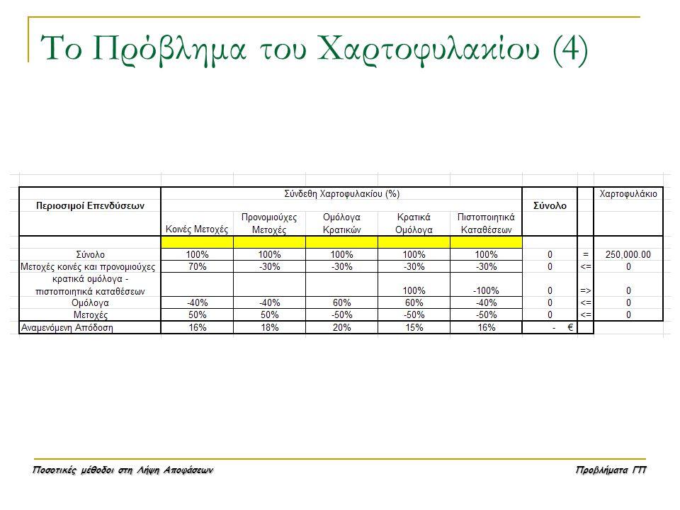Ποσοτικές μέθοδοι στη Λήψη Αποφάσεων Προβλήματα ΓΠ Το Πρόβλημα του Χαρτοφυλακίου (4)