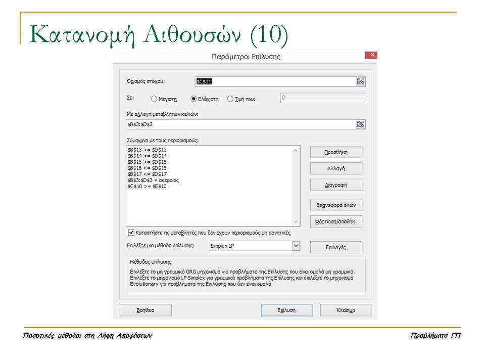 Ποσοτικές μέθοδοι στη Λήψη Αποφάσεων Προβλήματα ΓΠ Κατανομή Αιθουσών (10)