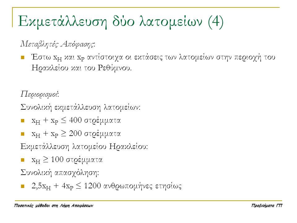 Ποσοτικές μέθοδοι στη Λήψη Αποφάσεων Προβλήματα ΓΠ Εκμετάλλευση δύο λατομείων (4) Μεταβλητές Απόφασης:  Έστω x Η και x Ρ αντίστοιχα οι εκτάσεις των λ
