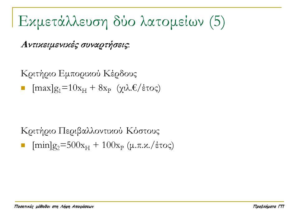 Ποσοτικές μέθοδοι στη Λήψη Αποφάσεων Προβλήματα ΓΠ Εκμετάλλευση δύο λατομείων (5) Αντικειμενικές συναρτήσεις: Κριτήριο Εμπορικού Κέρδους  [max]g 1 =1