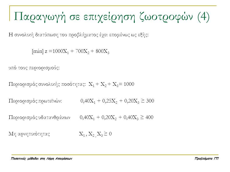 Ποσοτικές μέθοδοι στη Λήψη Αποφάσεων Προβλήματα ΓΠ Παραγωγή σε επιχείρηση ζωοτροφών (4) Η συνολική διατύπωση του προβλήματος έχει επομένως ως εξής: [m
