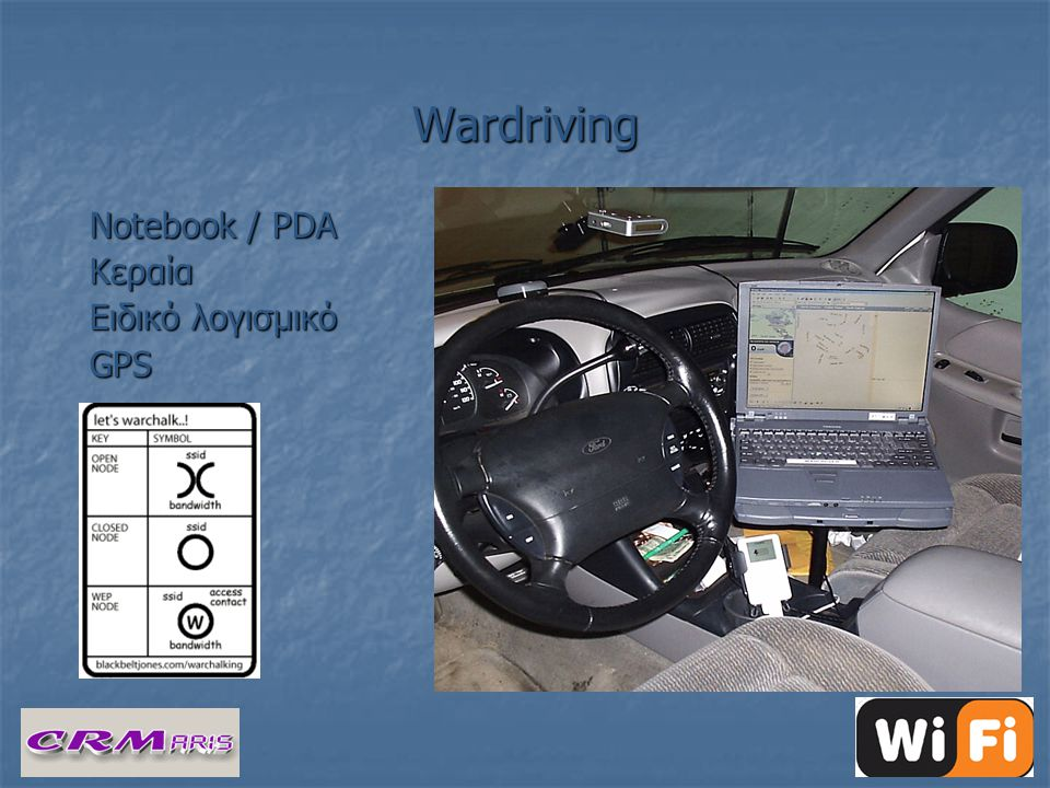 Wardriving Notebook / PDA Κεραία Ειδικό λογισμικό GPS