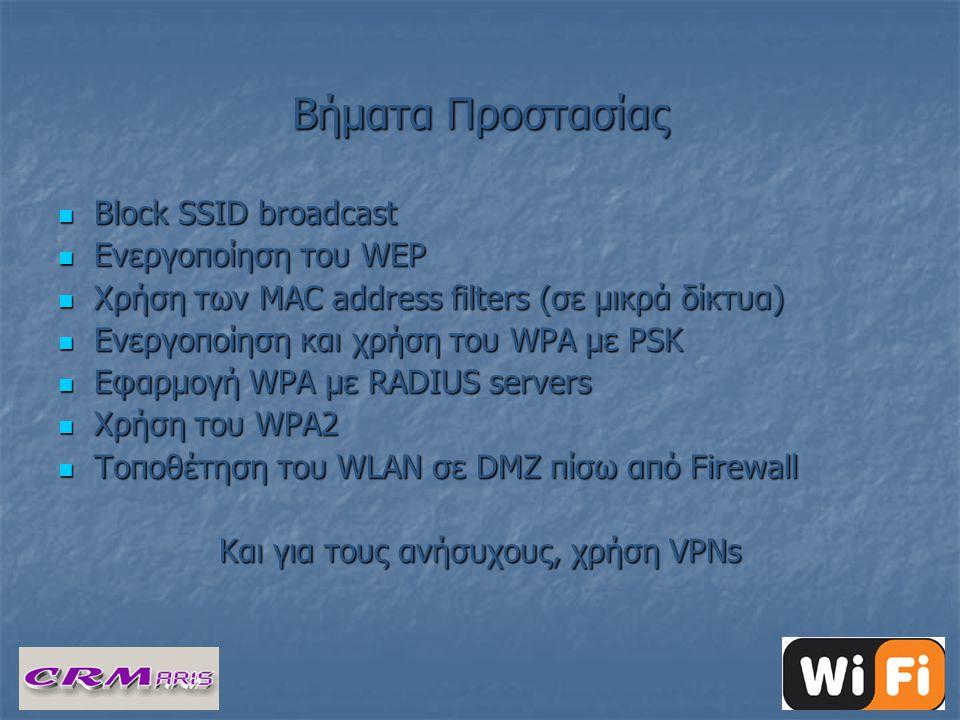 Βήματα Προστασίας  Block SSID broadcast  Ενεργοποίηση του WEP  Χρήση των MAC address filters (σε μικρά δίκτυα)  Ενεργοποίηση και χρήση του WPA με PSK  Εφαρμογή WPA με RADIUS servers  Χρήση του WPA2  Τοποθέτηση του WLAN σε DMZ πίσω από Firewall Και για τους ανήσυχους, χρήση VPNs