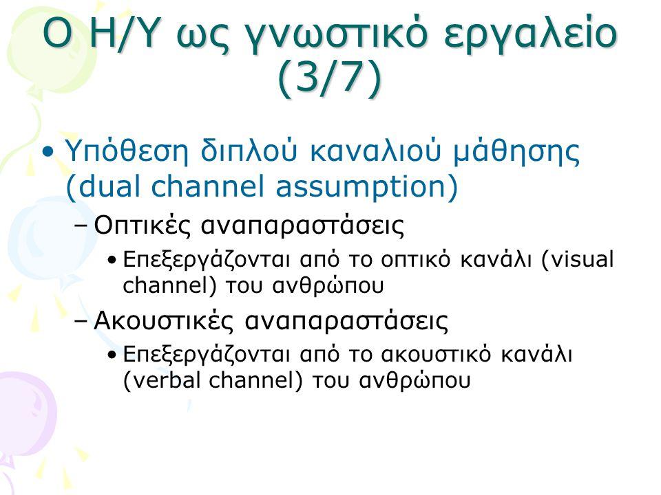 Ο Η/Υ ως γνωστικό εργαλείο (3/7) •Υπόθεση διπλού καναλιού μάθησης (dual channel assumption) –Οπτικές αναπαραστάσεις •Επεξεργάζονται από το οπτικό κανά