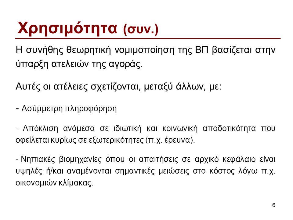 6 Χρησιμότητα (συν.) Η συνήθης θεωρητική νομιμοποίηση της ΒΠ βασίζεται στην ύπαρξη ατελειών της αγοράς.