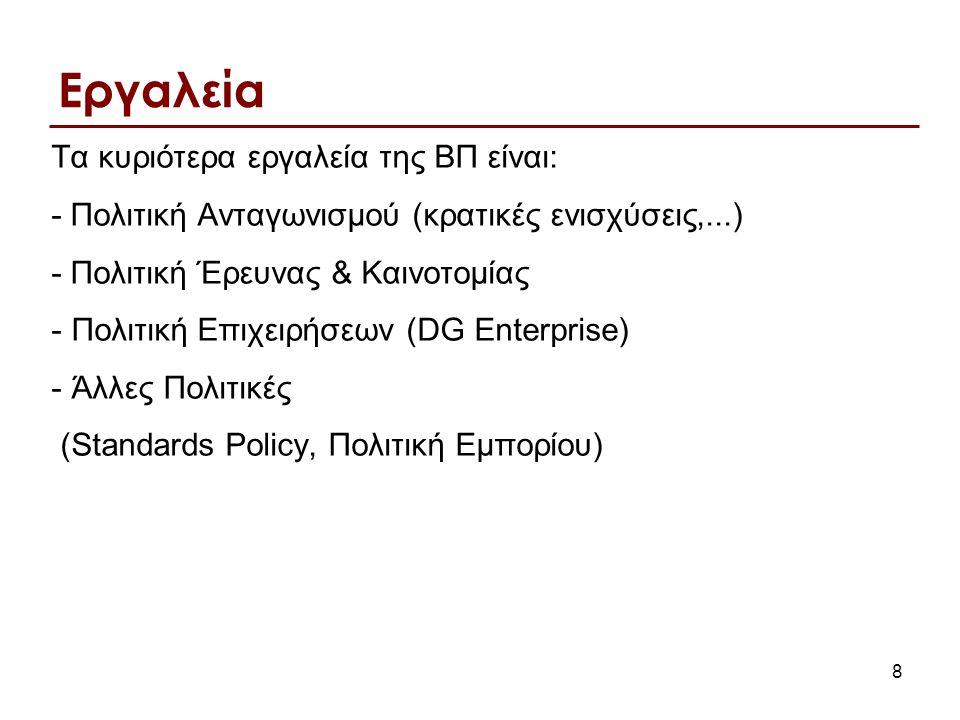 8 Εργαλεία Τα κυριότερα εργαλεία της ΒΠ είναι: - Πολιτική Ανταγωνισμού (κρατικές ενισχύσεις,...) - Πολιτική Έρευνας & Καινοτομίας - Πολιτική Επιχειρήσεων (DG Enterprise) - Άλλες Πολιτικές (Standards Policy, Πολιτική Εμπορίου)