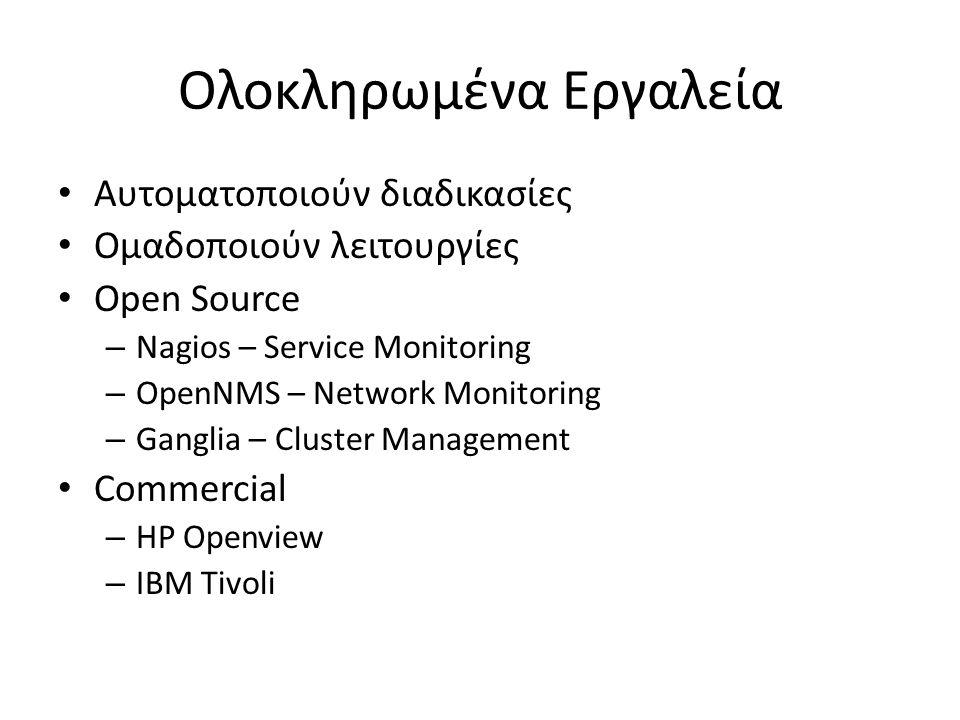 Ολοκληρωμένα Εργαλεία • Αυτοματοποιούν διαδικασίες • Ομαδοποιούν λειτουργίες • Open Source – Nagios – Service Monitoring – OpenNMS – Network Monitorin