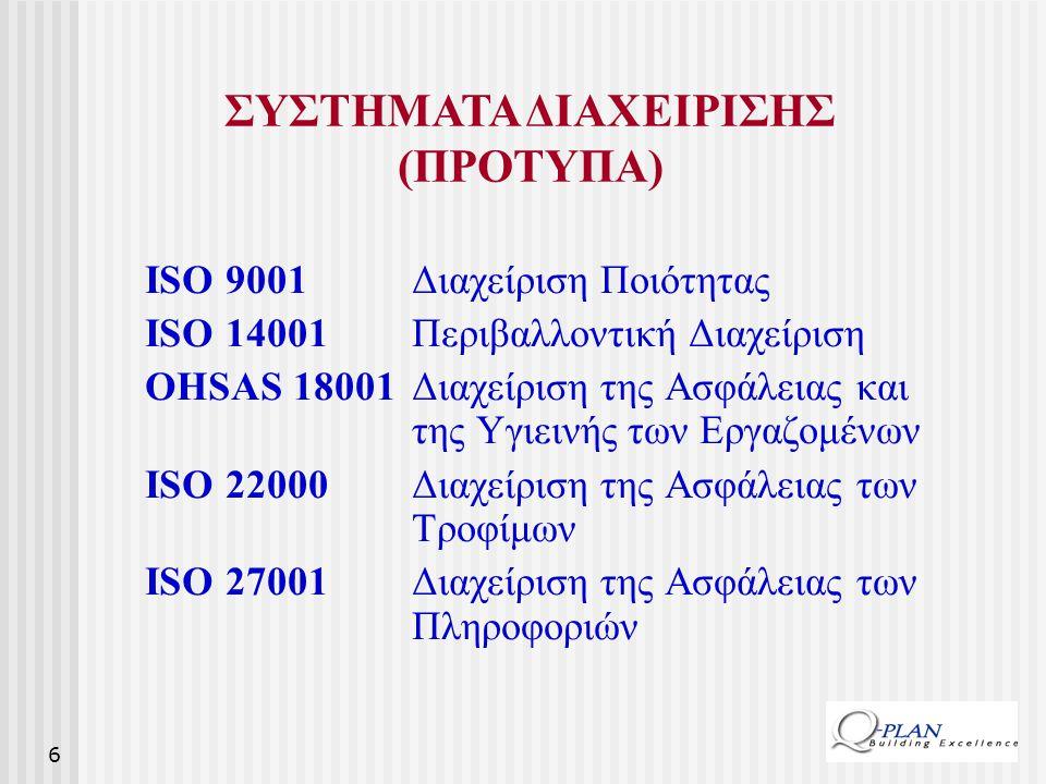 6 ISO 9001 Διαχείριση Ποιότητας ISO 14001 Περιβαλλοντική Διαχείριση OHSAS 18001Διαχείριση της Ασφάλειας και της Υγιεινής των Εργαζομένων ISO 22000 Δια