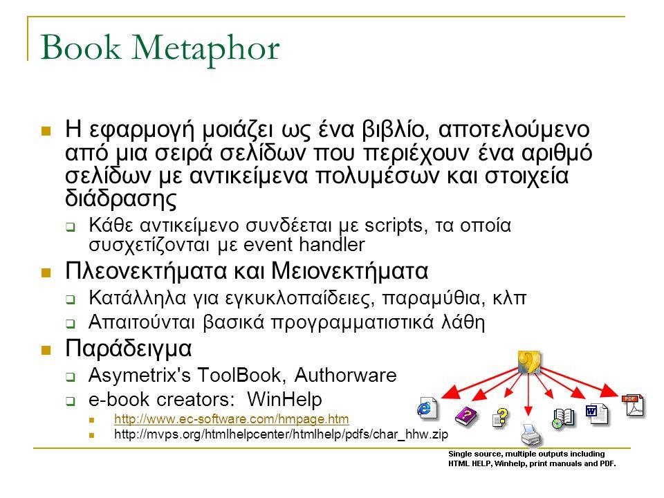 Book Metaphor  Η εφαρμογή μοιάζει ως ένα βιβλίο, αποτελούμενο από μια σειρά σελίδων που περιέχουν ένα αριθμό σελίδων με αντικείμενα πολυμέσων και στοιχεία διάδρασης  Κάθε αντικείμενο συνδέεται με scripts, τα οποία συσχετίζονται με event handler  Πλεονεκτήματα και Μειονεκτήματα  Κατάλληλα για εγκυκλοπαίδειες, παραμύθια, κλπ  Απαιτούνται βασικά προγραμματιστικά λάθη  Παράδειγμα  Asymetrix s ToolBook, Authorware  e-book creators: WinHelp  http://www.ec-software.com/hmpage.htm http://www.ec-software.com/hmpage.htm  http://mvps.org/htmlhelpcenter/htmlhelp/pdfs/char_hhw.zip