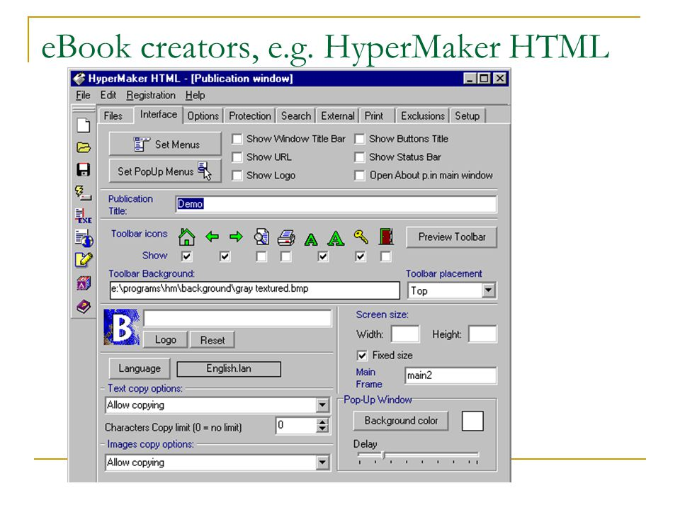 eBook creators, e.g. HyperMaker HTML
