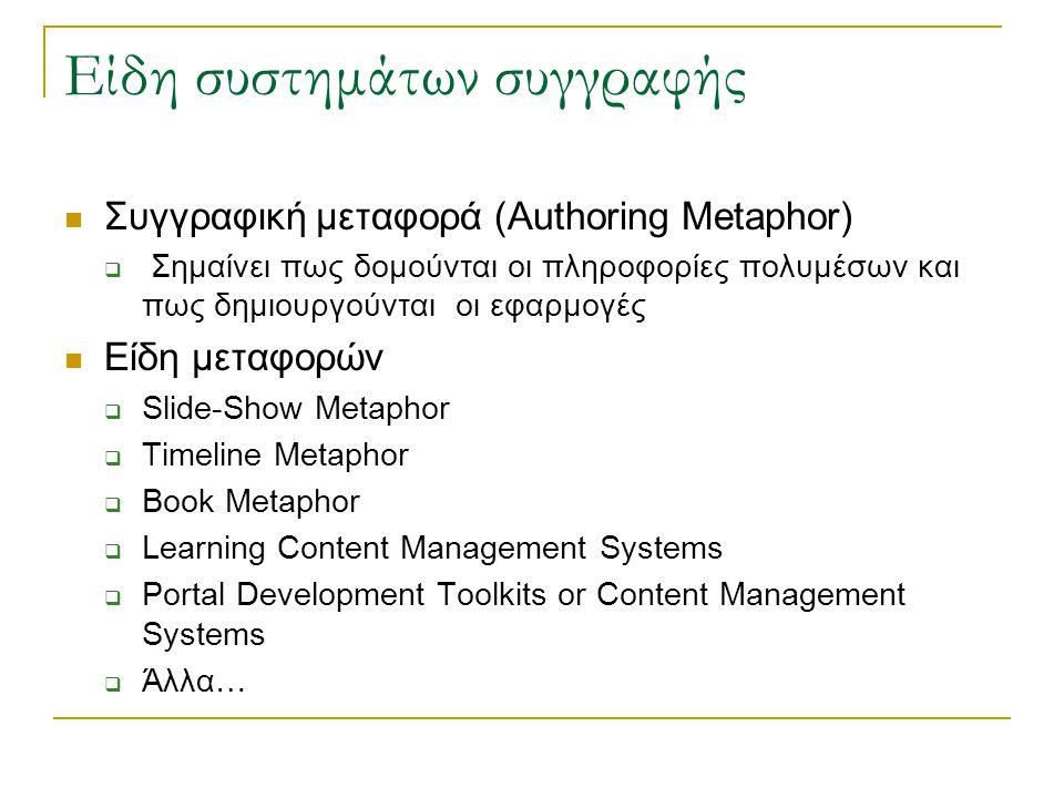 Είδη συστημάτων συγγραφής  Συγγραφική μεταφορά (Authoring Metaphor)  Σημαίνει πως δομούνται οι πληροφορίες πολυμέσων και πως δημιουργούνται οι εφαρμογές  Είδη μεταφορών  Slide-Show Metaphor  Timeline Metaphor  Book Metaphor  Learning Content Management Systems  Portal Development Toolkits or Content Management Systems  Άλλα…