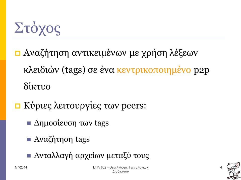 Στόχος  Αναζήτηση αντικειμένων με χρήση λέξεων κλειδιών (tags) σε ένα κεντρικοποιημένο p2p δίκτυο  Κύριες λειτουργίες των peers:  Δημοσίευση των ta