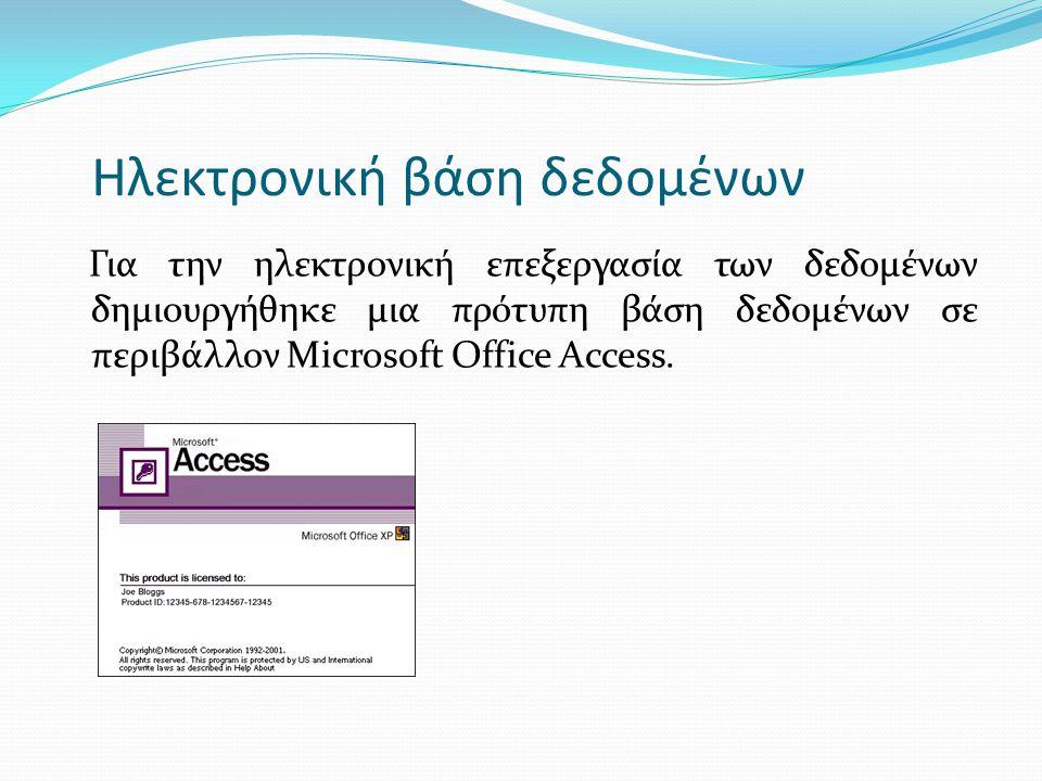 Ηλεκτρονική βάση δεδομένων Για την ηλεκτρονική επεξεργασία των δεδομένων δημιουργήθηκε μια πρότυπη βάση δεδομένων σε περιβάλλον Μicrosoft Office Acces