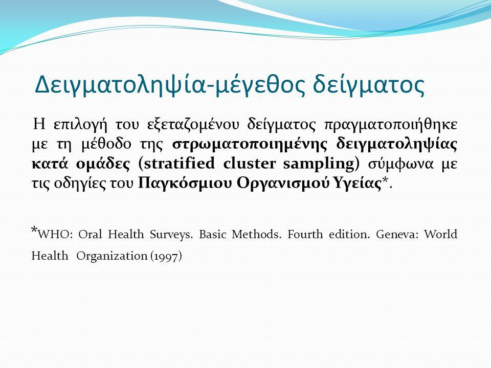 Δειγματοληψία-μέγεθος δείγματος Η επιλογή του εξεταζομένου δείγματος πραγματοποιήθηκε με τη μέθοδο της στρωματοποιημένης δειγματοληψίας κατά ομάδες (s