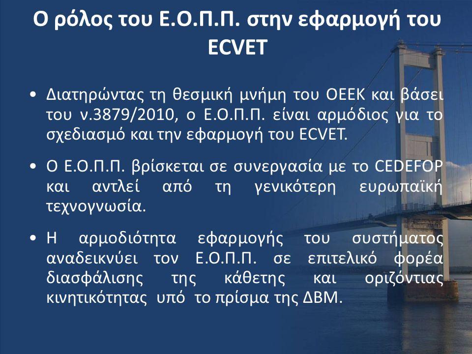Ο ρόλος του Ε.Ο.Π.Π. στην εφαρμογή του ΕCVET •Διατηρώντας τη θεσμική μνήμη του ΟΕΕΚ και βάσει του ν.3879/2010, ο Ε.Ο.Π.Π. είναι αρμόδιος για το σχεδια