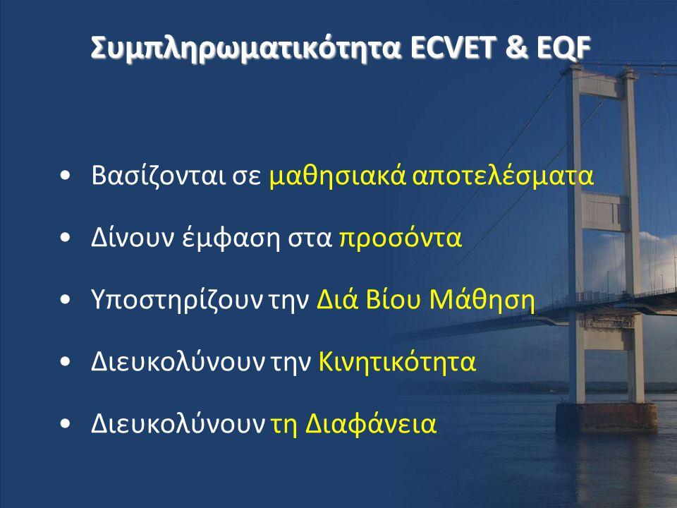 Συμπληρωματικότητα ECVET & EQF •Βασίζονται σε μαθησιακά αποτελέσματα •Δίνουν έμφαση στα προσόντα •Υποστηρίζουν την Διά Βίου Μάθηση •Διευκολύνουν την Κ