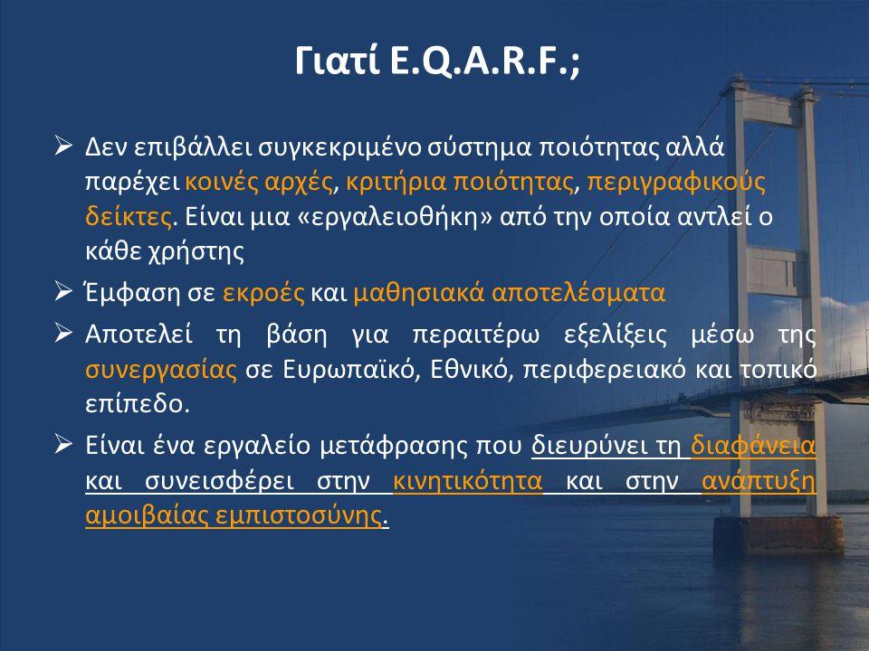 Γιατί E.Q.A.R.F.;  Δεν επιβάλλει συγκεκριμένο σύστημα ποιότητας αλλά παρέχει κοινές αρχές, κριτήρια ποιότητας, περιγραφικούς δείκτες. Είναι μια «εργα